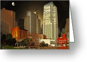 Mario Art Greeting Cards - Moon Over Yerba Buena Gardens San Francisco Greeting Card by Wingsdomain Art and Photography