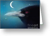 Crow Digital Art Greeting Cards - Moon Raven Greeting Card by Robert Foster
