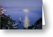 Clear Photo Greeting Cards - Moon Reflected In Sea Greeting Card by Thomas David Photography