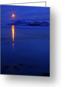 Beacon Greeting Cards - Moon Rise over Mt. Edgecumbe Greeting Card by Mike  Dawson