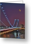 Cities Greeting Cards - Moon Rise over the George Washington Bridge Greeting Card by Susan Candelario