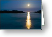 Moon Set Greeting Cards - Moon Set Greeting Card by Tim Isaak