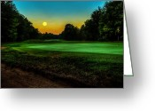 Moon Set Greeting Cards - Moon Setting Over the Green Greeting Card by Everet Regal