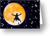 Starry Digital Art Greeting Cards - Moon Splat 2 Greeting Card by Steve Ohlsen