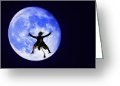 Crash Mixed Media Greeting Cards - Moon Splat Greeting Card by Steve Ohlsen