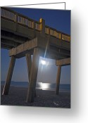 Moonrise Greeting Cards - Moon under the Pier 2 Greeting Card by Richard Roselli