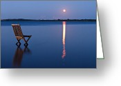 Glowing Greeting Cards - Moon View Greeting Card by Gert Lavsen