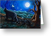 Bears Painting Greeting Cards - Moon Walk Greeting Card by Rainelle Meridith