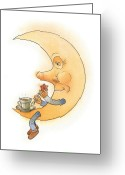 Dark Drawings Greeting Cards - Moon02 Greeting Card by Kestutis Kasparavicius