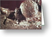 Great Sculpture Greeting Cards - Moonhorse Detail Owl and Moon Greeting Card by Dawn Senior-Trask