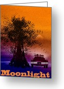 Sky Mixed Media Greeting Cards - Moonlight Greeting Card by Bob Orsillo