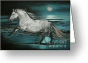 White White Horse Pastels Greeting Cards - Moonlight Dancer Greeting Card by Sabine Lackner
