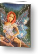 Airbrush Greeting Cards - Moonlight Faerie Greeting Card by Crispin  Delgado