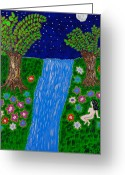Silver Nude Painting Greeting Cards - Moonlight Forest Contemplation Greeting Card by Robyn Louisell