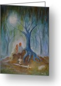 Magick Greeting Cards - Moonlight Hallows Greeting Card by Bernadette Wulf