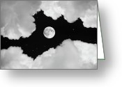 Clouds Pyrography Greeting Cards - Moonlight Greeting Card by Ian David Soar