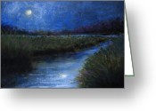 Spiritual Pastels Greeting Cards - Moonlight Marsh Greeting Card by Susan Jenkins