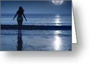 Tonight Greeting Cards - Moonlight Greeting Card by MotHaiBaPhoto Prints