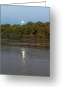 Sandias Greeting Cards - Moonlight on the Rio Grande Greeting Card by Tim McCarthy