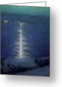 Riviere Greeting Cards - Moonlight on the River Greeting Card by Lowell Birge Harrison
