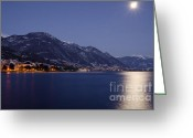 Snow Capped Greeting Cards - Moonlight over a lake Greeting Card by Mats Silvan