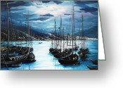 Moonlight Greeting Cards - Moonlight Over Port Of Spain Greeting Card by Karin Best
