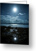 Nautical Vessel Greeting Cards - Moonlight Greeting Card by Rodell Ibona Basalo