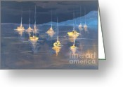 Nightlight Greeting Cards - Moonlight Sailing Greeting Card by Julie Lueders 