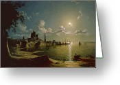 Anglers Greeting Cards - Moonlight Scene Greeting Card by Sebastian Pether