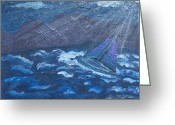 Kingston Greeting Cards - Moonlight Surge 1 Greeting Card by Angella Kingston