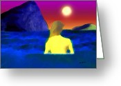 Skinny Dip Greeting Cards - Moonlight Swim Greeting Card by Anthony Caruso