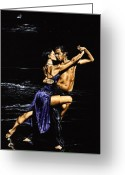 Dancers Greeting Cards - Moonlight Tango Greeting Card by Richard Young