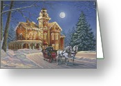 Winter Art Greeting Cards - Moonlight Travelers Greeting Card by Richard De Wolfe