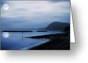 Pebbles Digital Art Greeting Cards - Moonlit beach  Greeting Card by Jaroslaw Grudzinski