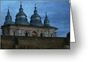 Moons Greeting Cards - Moonlit Monastery Greeting Card by Jeff Kolker