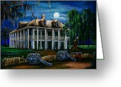 Louisiana Greeting Cards - Moonlit Plantation Greeting Card by Elaine Hodges