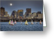 Charles River Digital Art Greeting Cards - Moonlit Sailing Greeting Card by Jose Vazquez