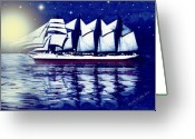 Smudgeart Greeting Cards - Moonlit Sails Greeting Card by Madeline M Allen