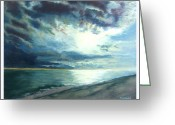 Blues Pastels Greeting Cards - Moonlit Sea Greeting Card by Sue Gardner