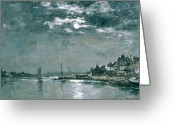 Grey Clouds Greeting Cards - Moonlit Seascape Greeting Card by Eugene Louis Boudin