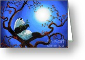 Laura Milnor Iverson Greeting Cards - Moonlit Snack Greeting Card by Laura Iverson