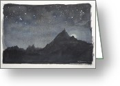 Tor Painting Greeting Cards - Moonlit Tor Greeting Card by Leslie M Browning