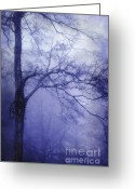 Morning Mist Images Greeting Cards - Moonlit Tree Greeting Card by Judi Bagwell