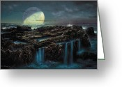 Natural History Greeting Cards - Moonrise 4 Billion BCE Greeting Card by Don Dixon