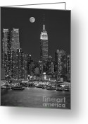 Midtown Greeting Cards - Moonrise along the Empire State Building BW  Greeting Card by Susan Candelario
