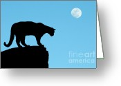 Wild Cat Greeting Cards - Moonrise and Cougar Greeting Card by Sandra Bronstein