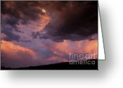 Stormy Skies Greeting Cards - Moonrise and Sunset Greeting Card by Sandra Bronstein