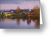 Airplane Greeting Cards - Moonrise at Lake Hood Greeting Card by Tim Grams