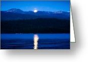 Mountain Ranges Greeting Cards - Moonrise at Priest Lake Greeting Card by David Patterson
