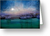 Moonrise Digital Art Greeting Cards - Moonrise at the Bay in Kukljica Croatia Greeting Card by Suzana Mestric